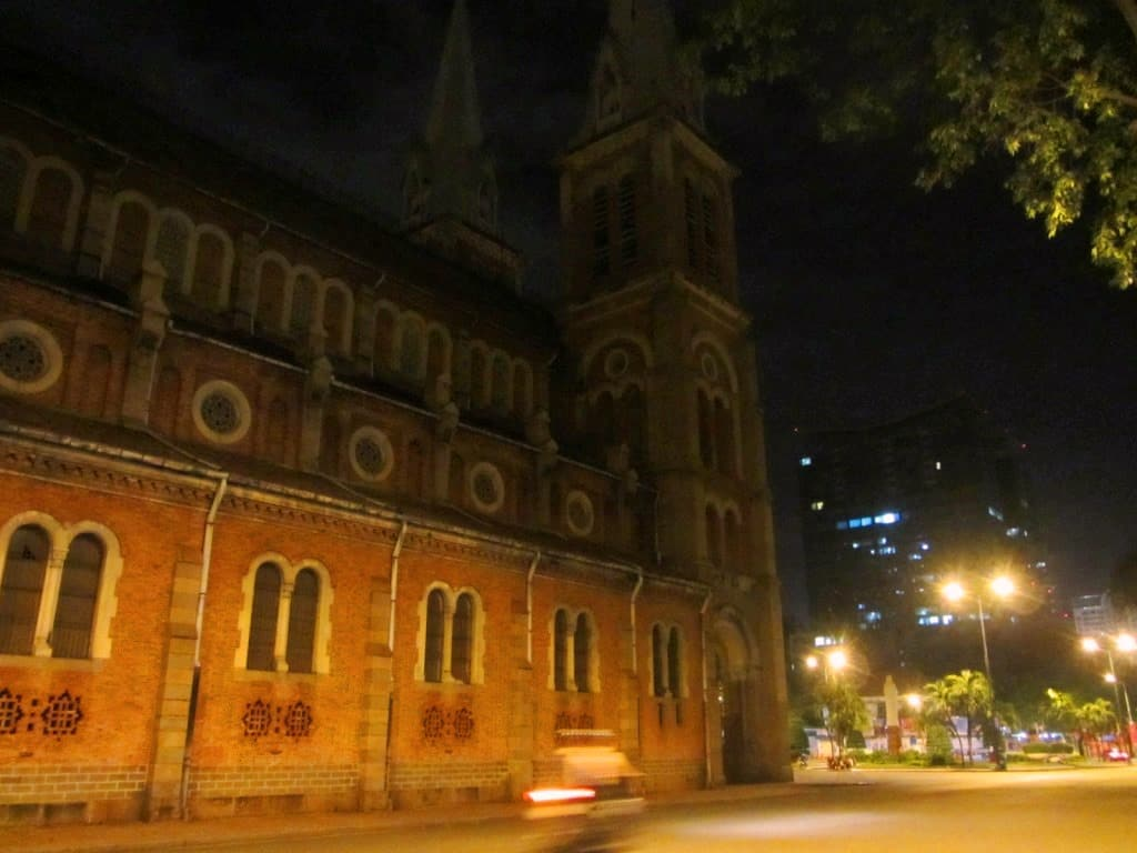 Notre Dame Cathedral at night, Saigon