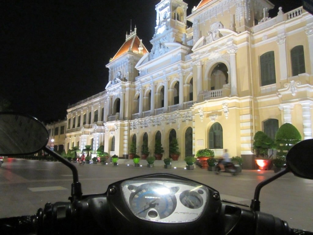 City Hall at night, District 1, Saigon