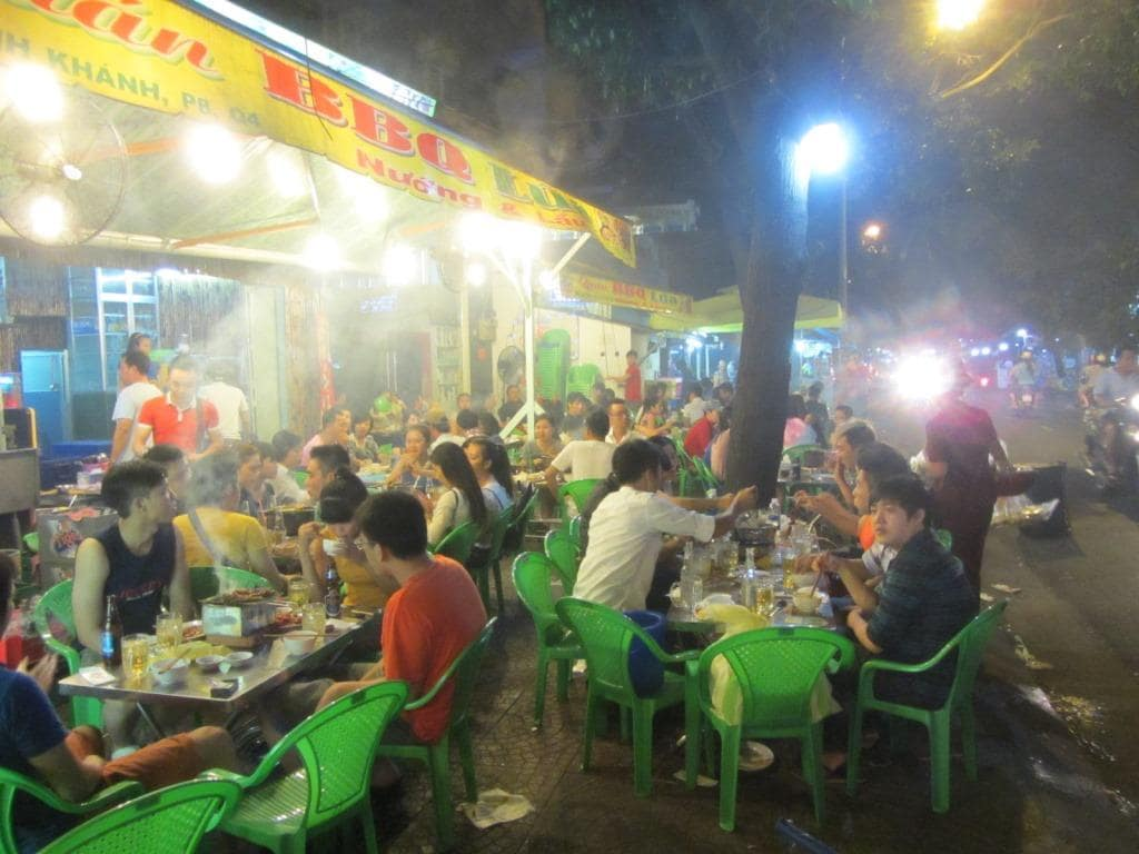 Street food at night, Vinh Khanh Street, Saigon