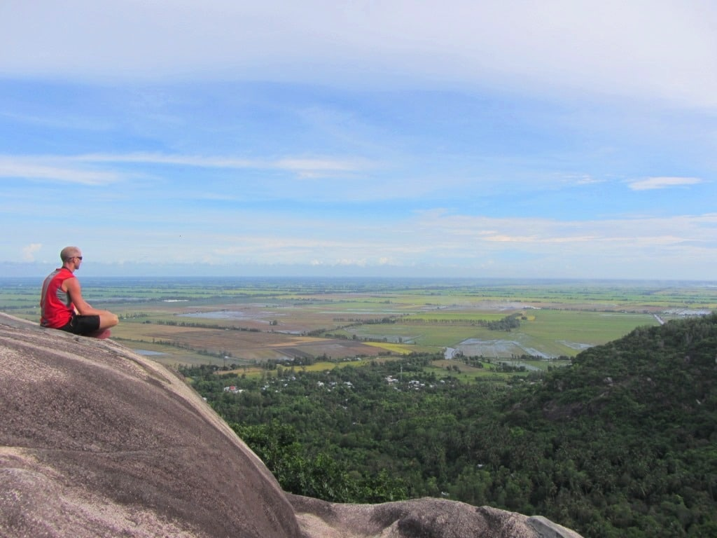 Sitting on top of Nui Ba The Mountain, An Giang Province, Mekong Delta, Vietnam