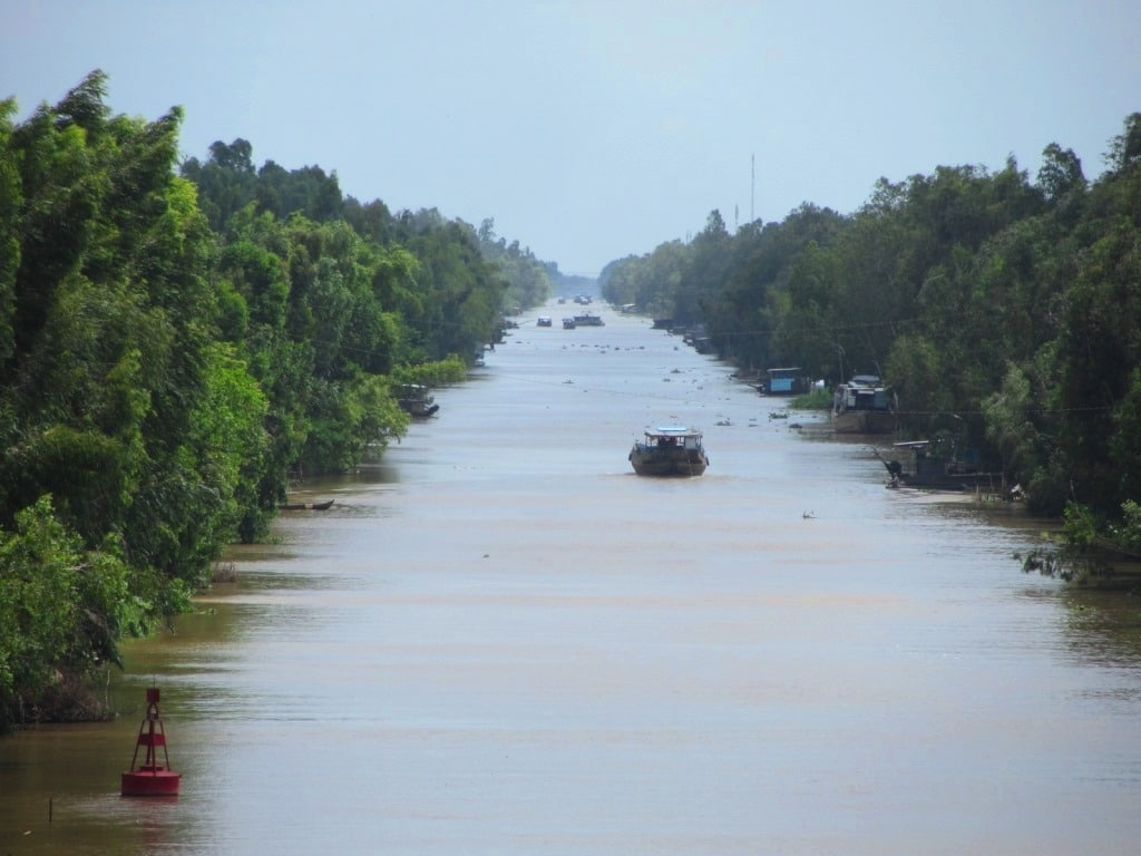 A canal in the Mekong Delta, An Giang Province, Vietnam