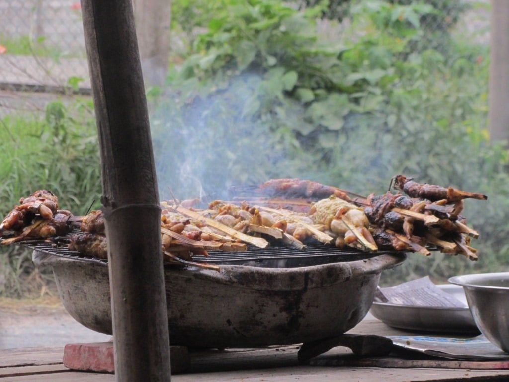 Grilled frogs, An Giang Province, Mekong Delta, Vietnam