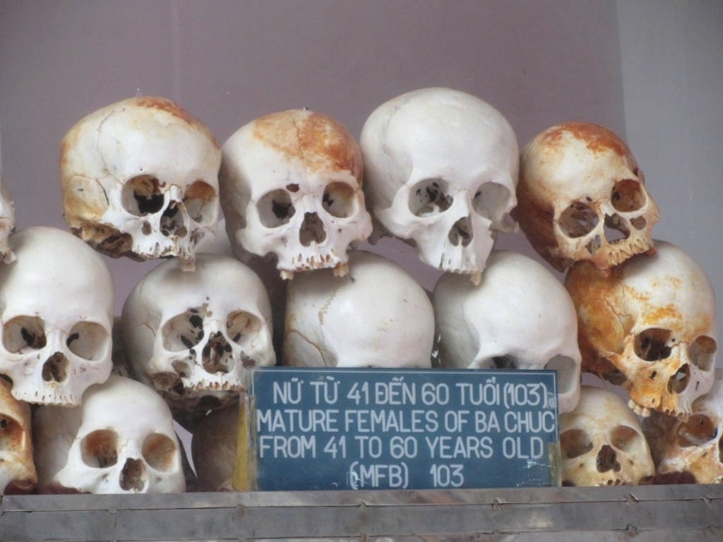Skulls of the victims of the Ba Chuc massacre, An Giang Province, Mekong Delta, Vietnam
