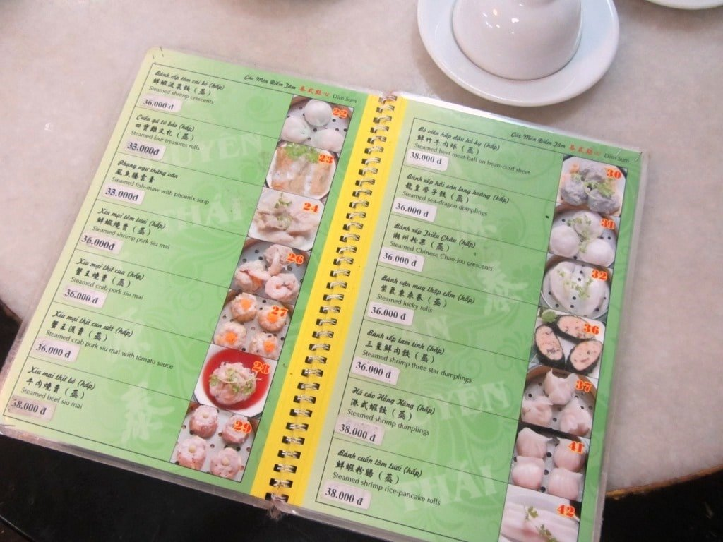 Menu at Tan Nguyen Thai Dim Sum, Saigon, Ho Chi Minh City, Vietnam