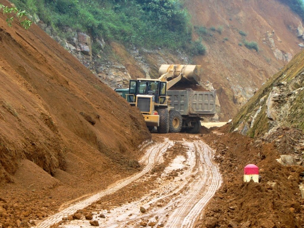 Clearing a landslide in northern Vietnam
