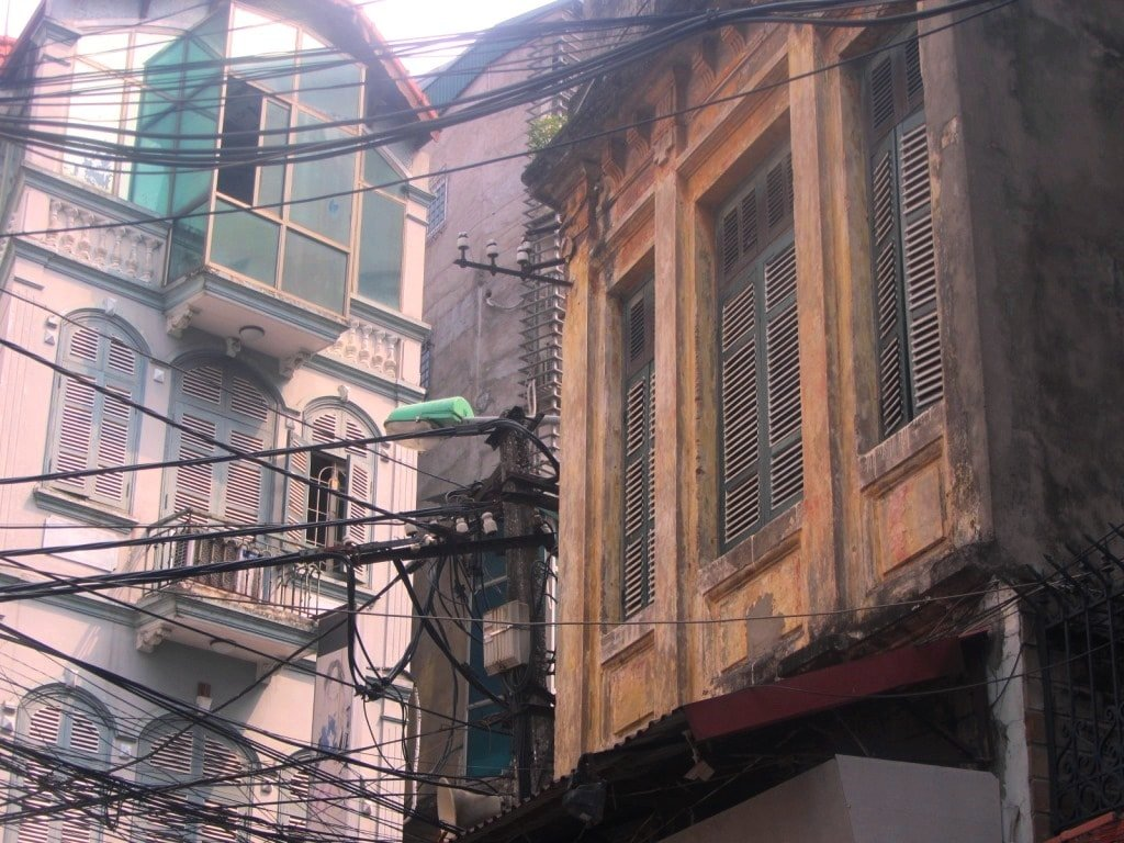 Old buildings in Hanoi, Vietnam