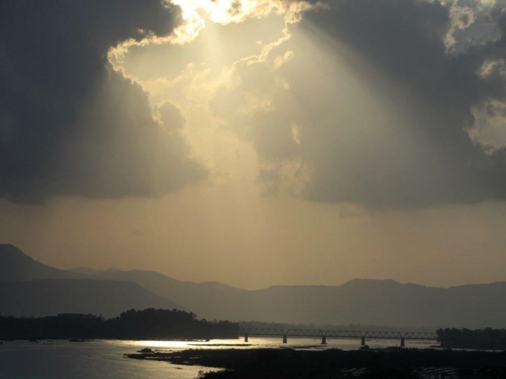 Sunset over the Tra Khuc River, Quang Ngai, Vietnam