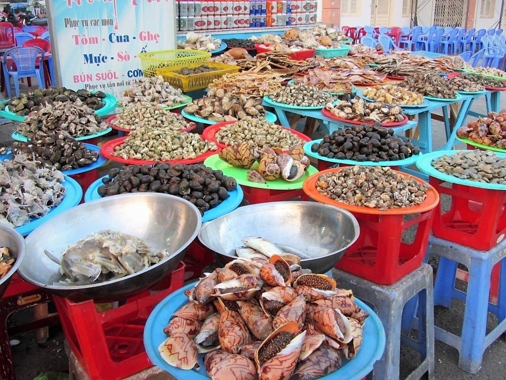 Seafood on display, Ha Tien, Mekong Delta, Vietnam