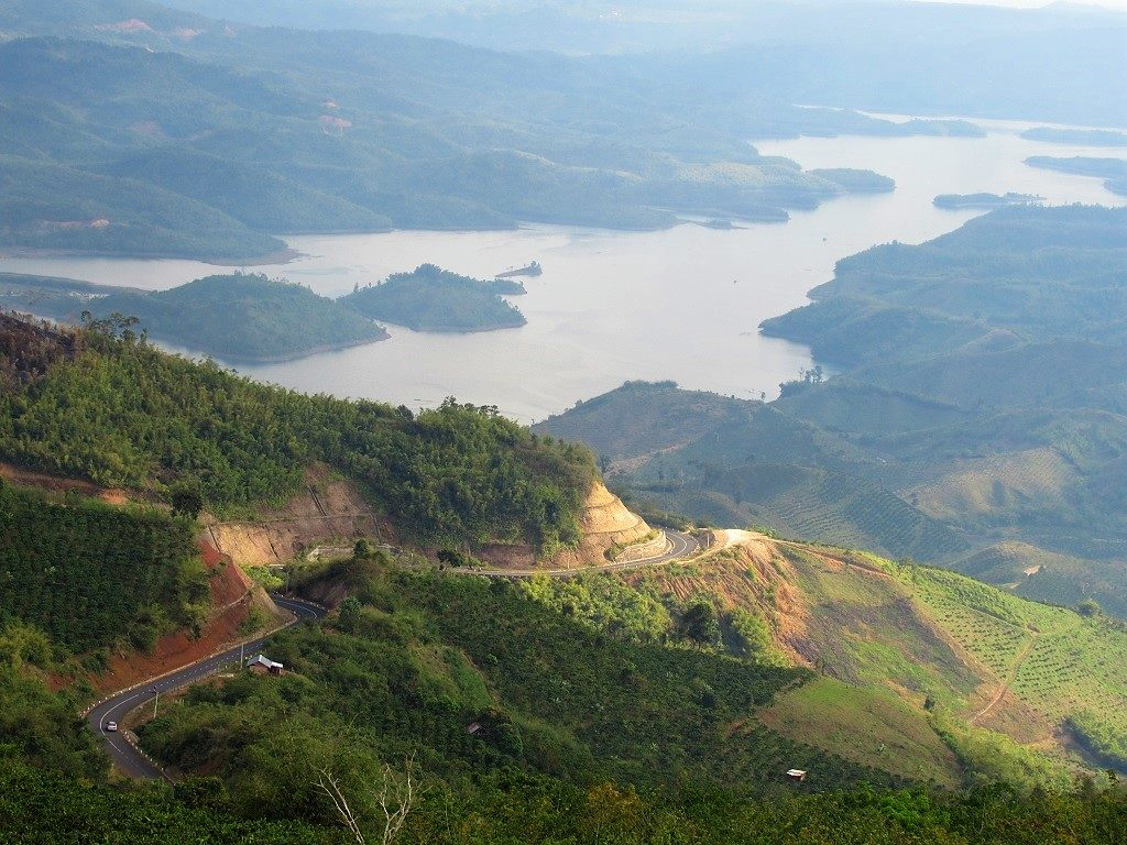 Central Highlands road & reservoir, Vietnam