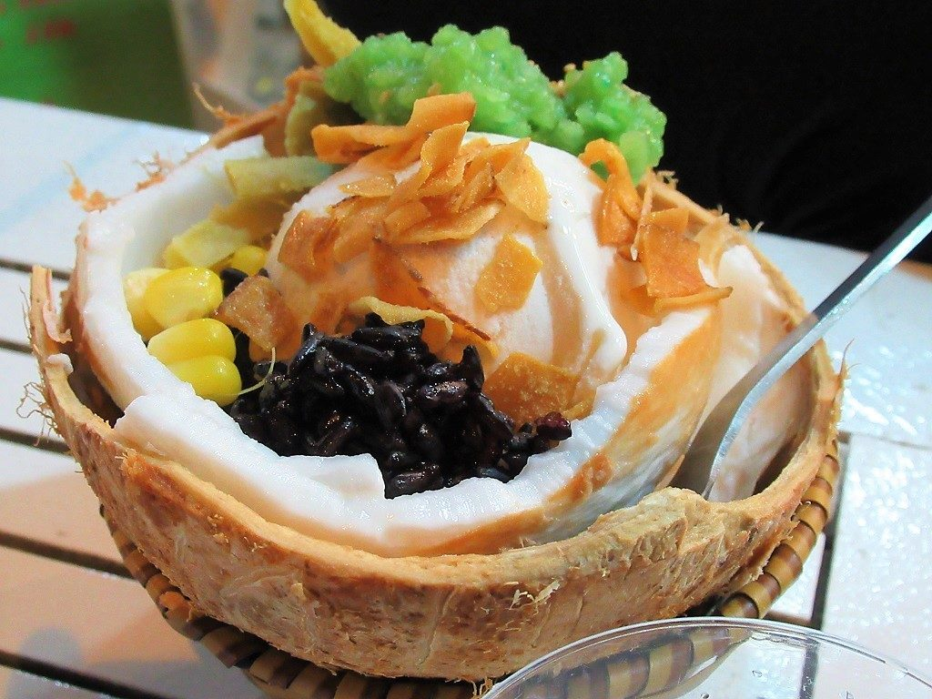 Coconut ice cream at Nguyen Huong, District 10, Saigon (Ho Chi Minh City)