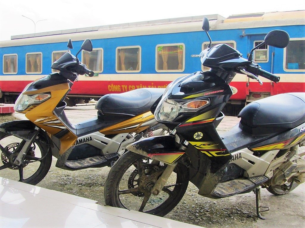 Sending motorbikes on the sleeper train, Hanoi to Lao Cai