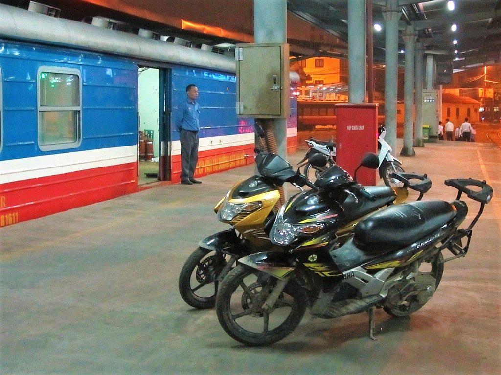 Sending motorbikes on the sleeper train, Hanoi to Lao Cai
