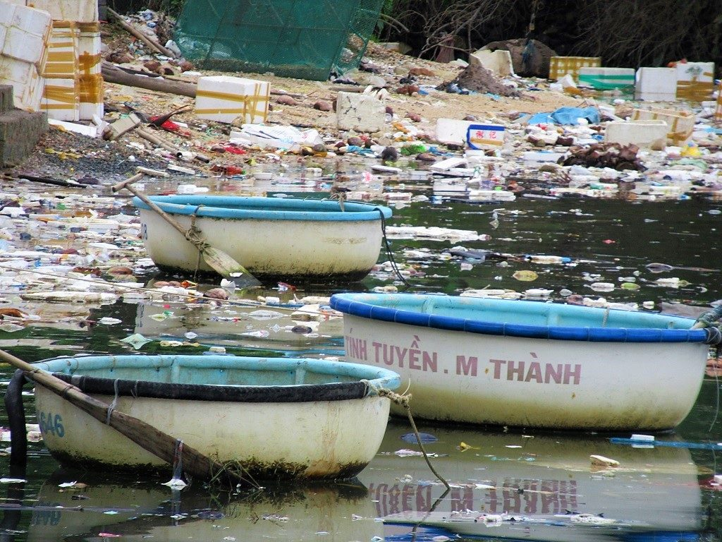 Trash in the sea near Song Cau fishing village, Phu Yen Province, Vietnam
