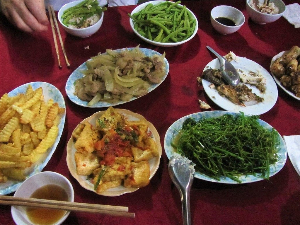 Home-cooked dinner at a homestay, Ba Be Lake, Vietnam