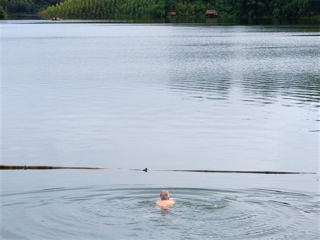 Swimming in Thac Ba Lake, Vu Linh, Yen Bai Province, Vietnam