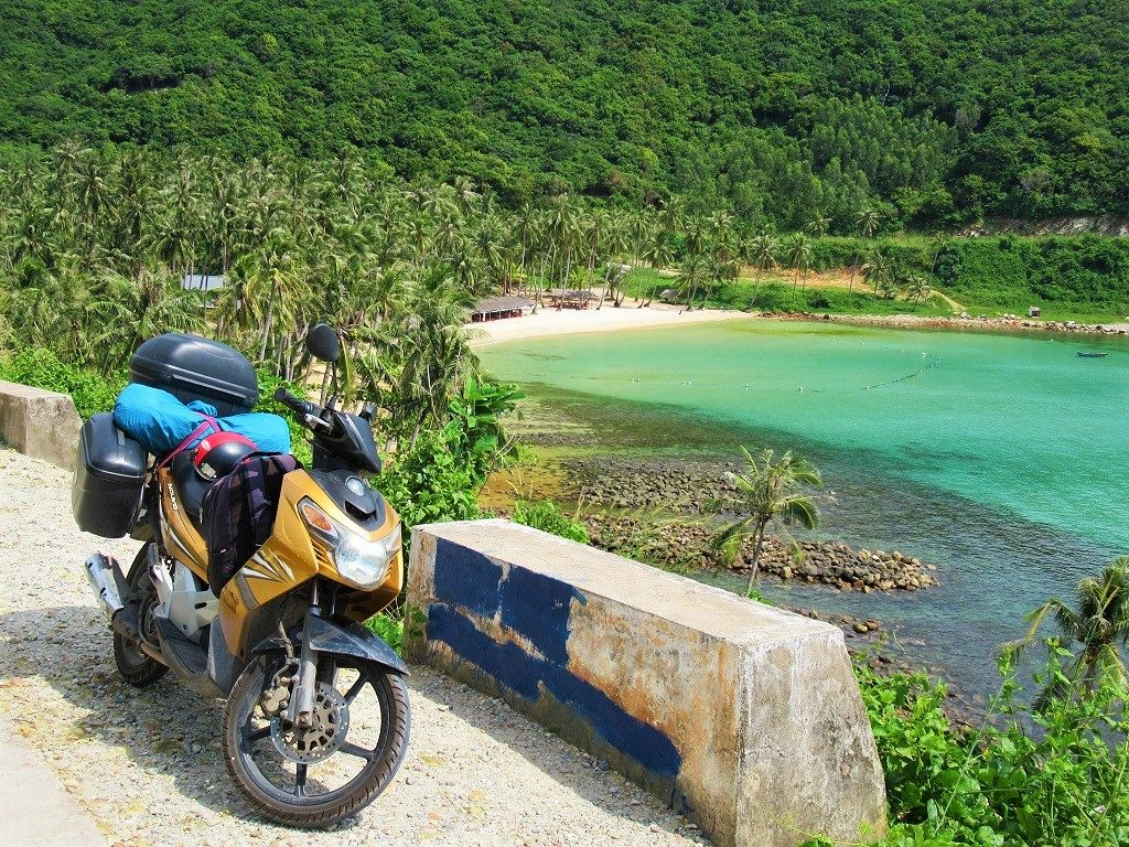 Riding a motorbike on Nam Du Island, Vietnam