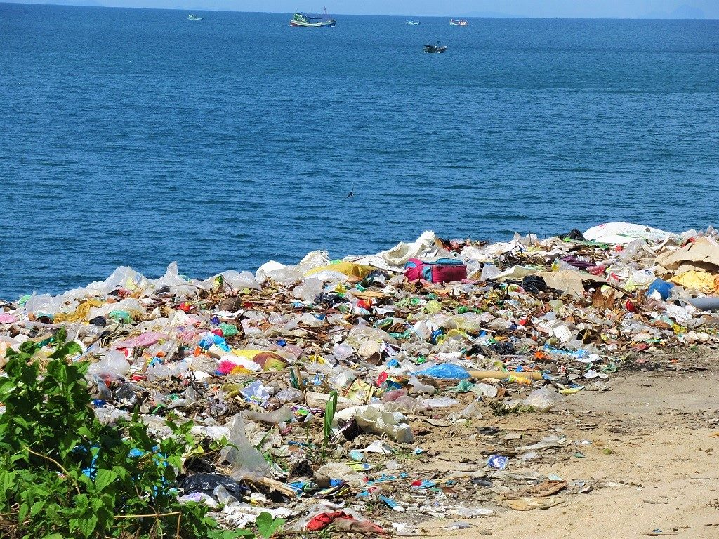 A waste dump, mostly plastic, on a Vietnamese island