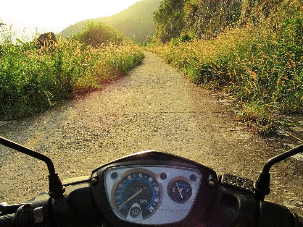 Riding a motorbike on Hon Son Island, Vietnam