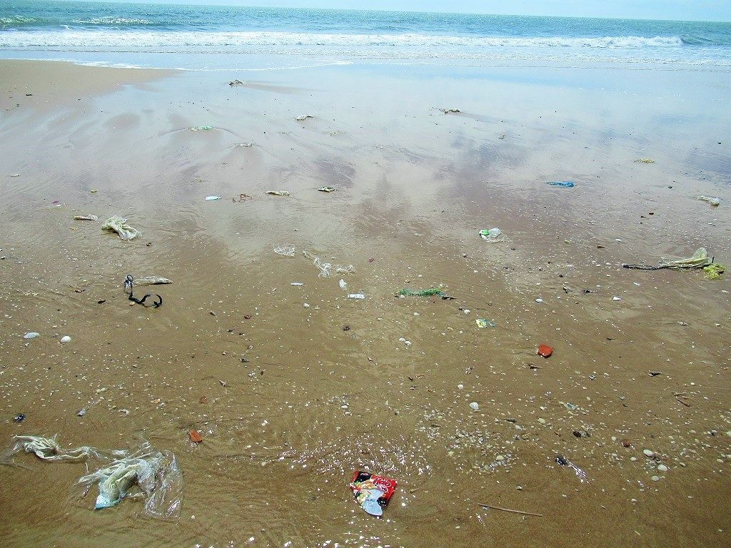 Single-use plastic trash on a Vietnamese beach