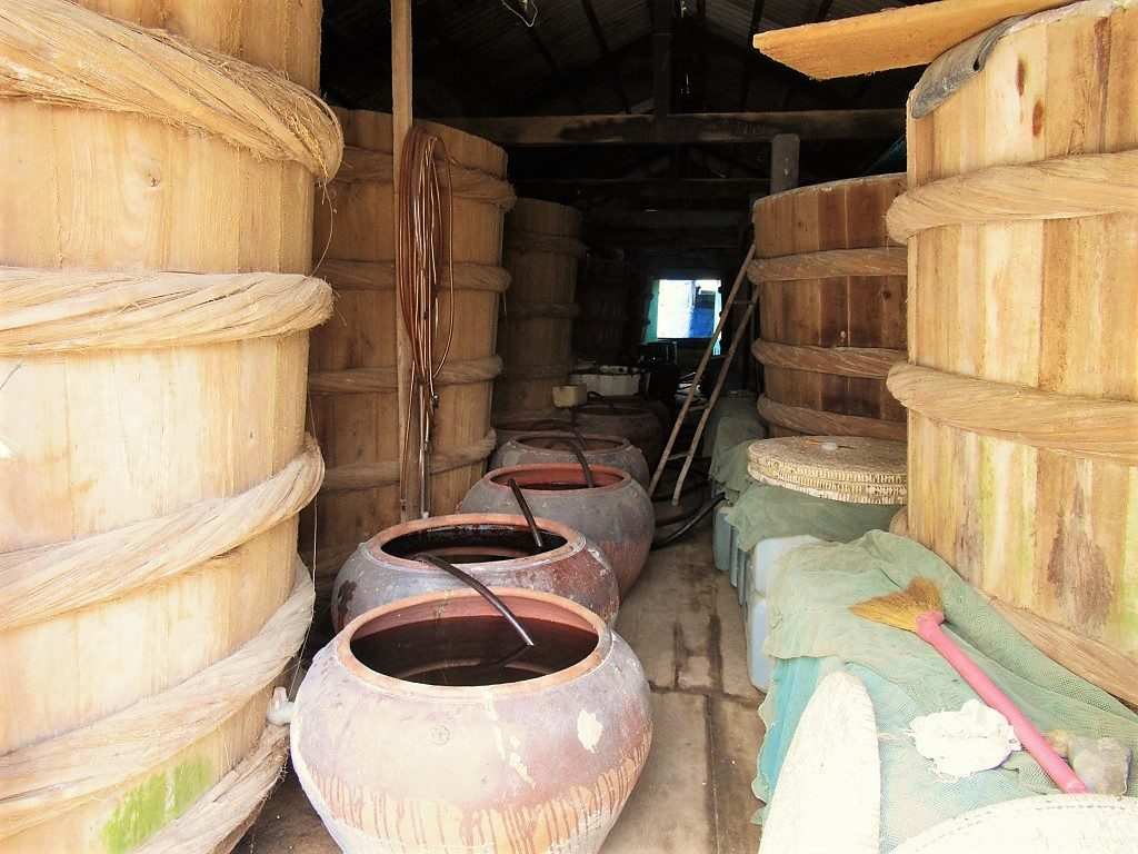 Fish sauce (nước mắm) production, Hon Son Island, Vietnam