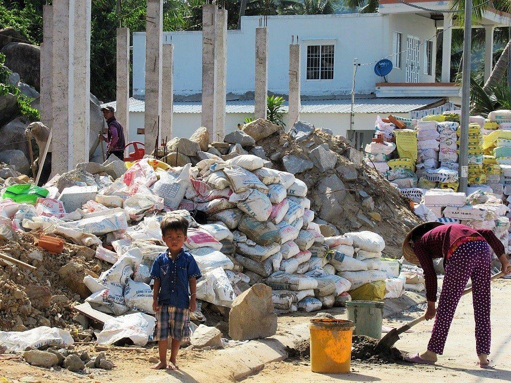 Construction on Hon Son Island, Vietnam