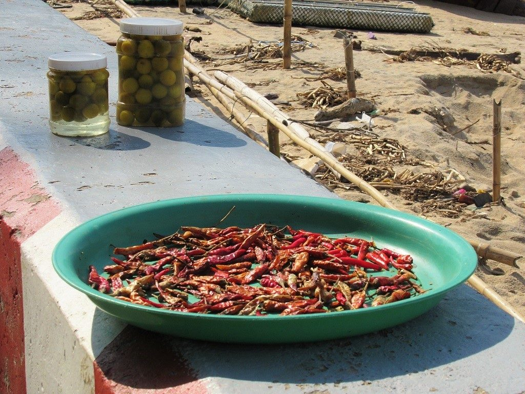 Chillies drying, Bai Bo Beach, Hon Son Island, Vietnam