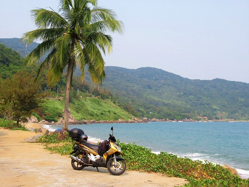 Riding the coast road by motorbike, Son Tra, Danang