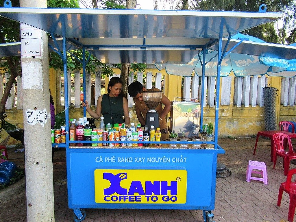 Xanh Cafe with espresso machine, Ly Son Island, Vietnam
