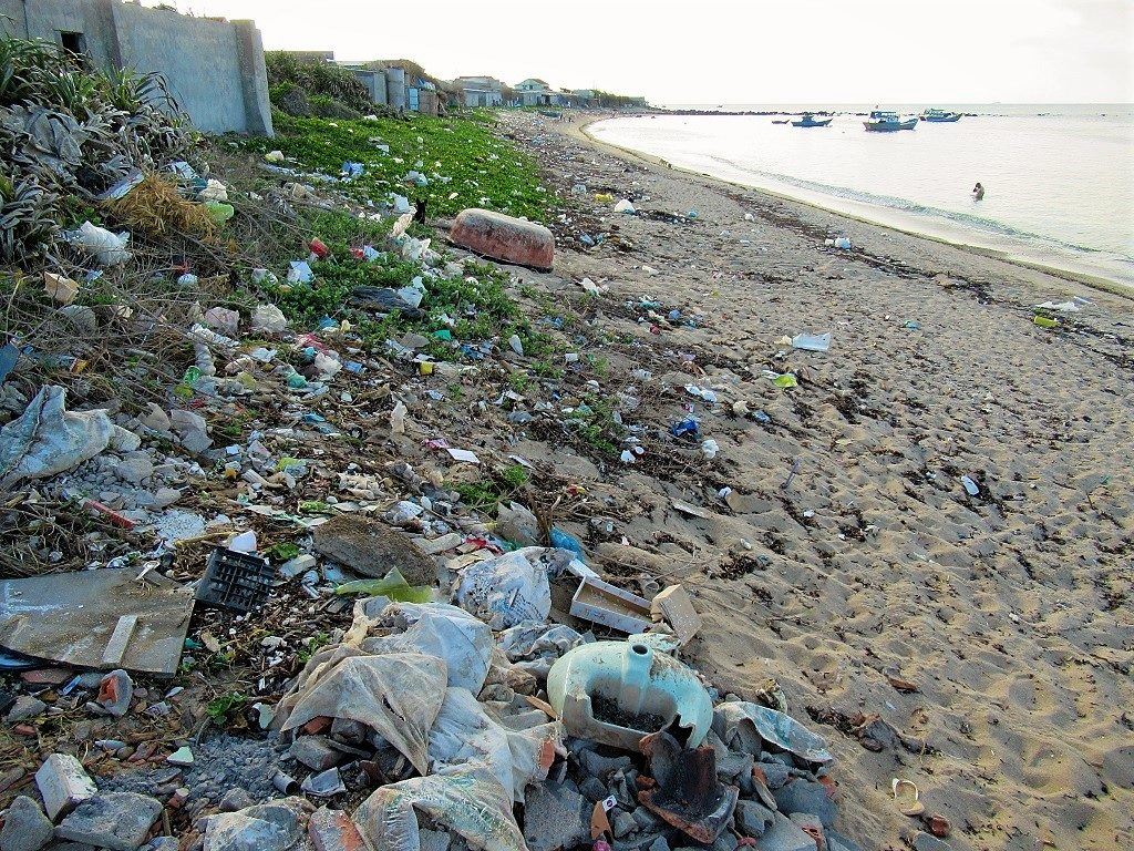 Trash on Long Hai Beach, Phu Quy Island, Vietnam
