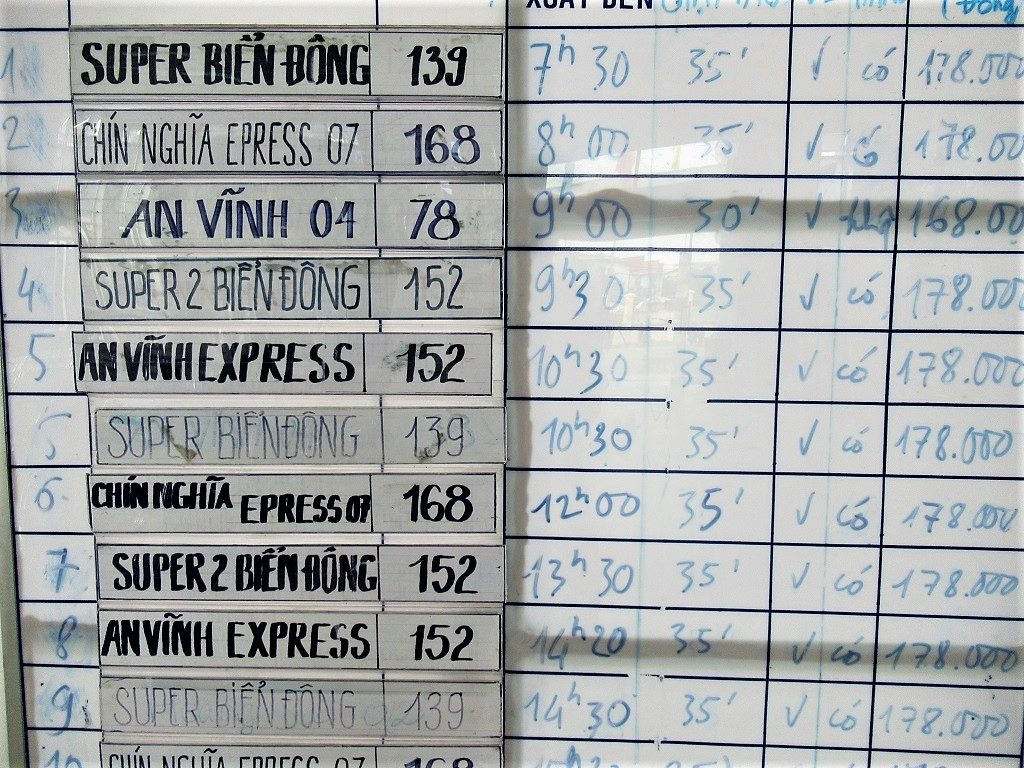 List of sailing times, Sa Ky to Ly Son Island, Vietnam