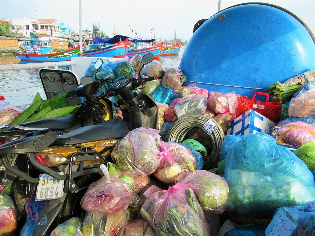 Motorbikes & cargo on the fast boat to Ly Son Island, Vietnam