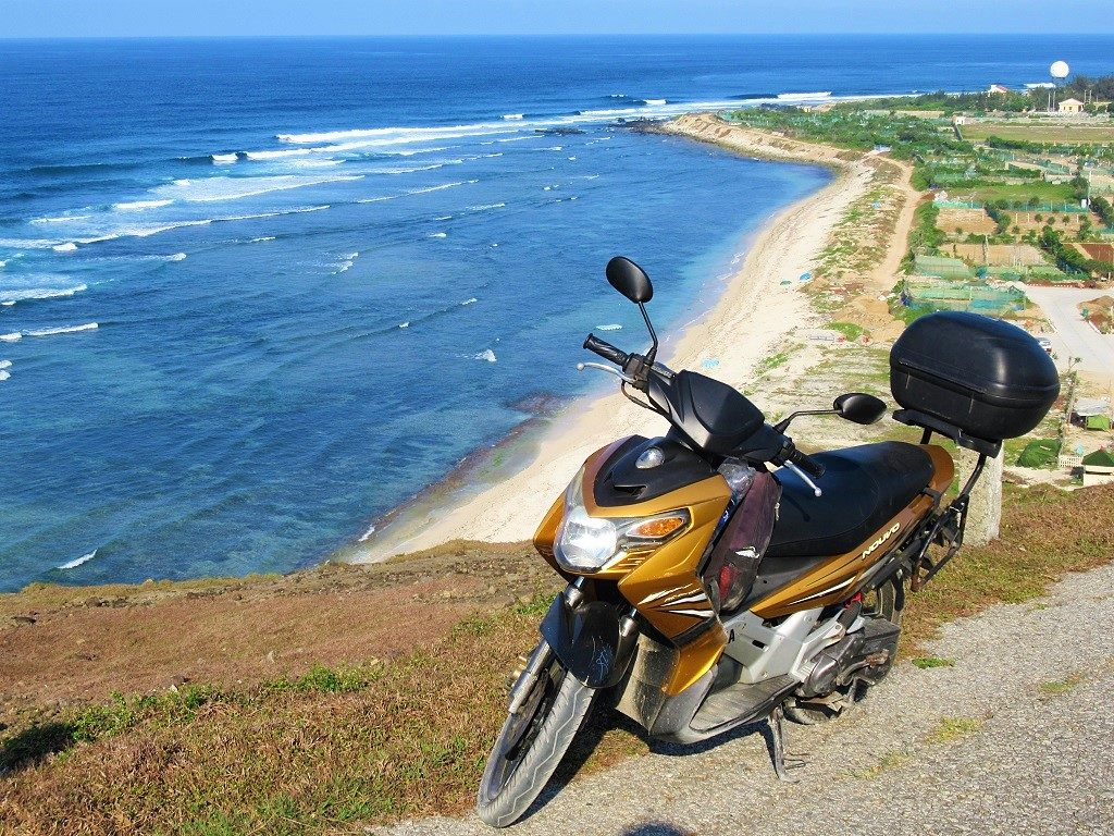 Motorbiking the coast roads, Ly Son Island, Vietnam