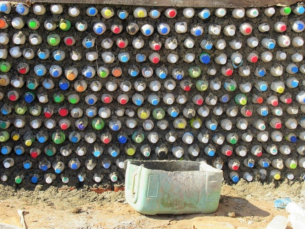 Recycled plastic bottle wall, Dao Be Island, Ly Son, Vietnam