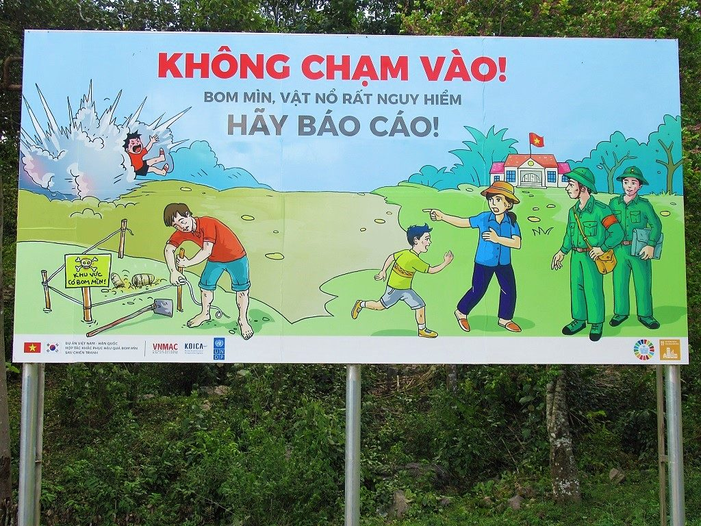 Warning sign for unexploded bombs, Arem Village, Phong Nha, Vietnam