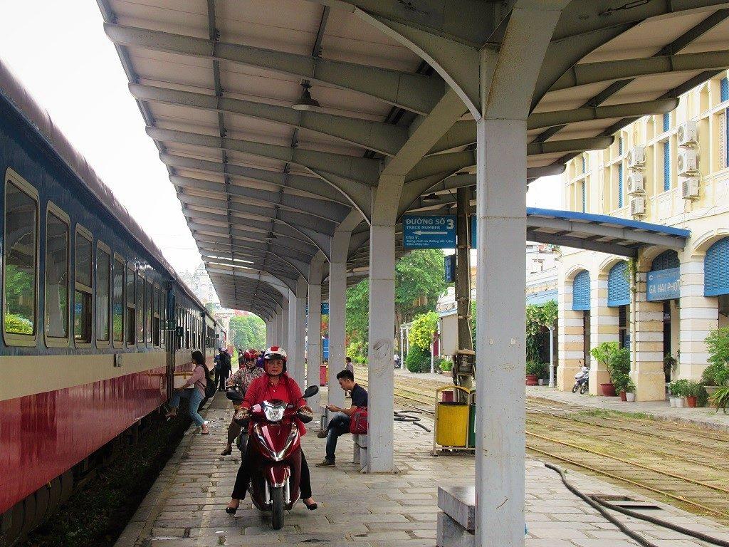 Sending a motorbike on the train between Hanoi & Haiphong, Vietnam