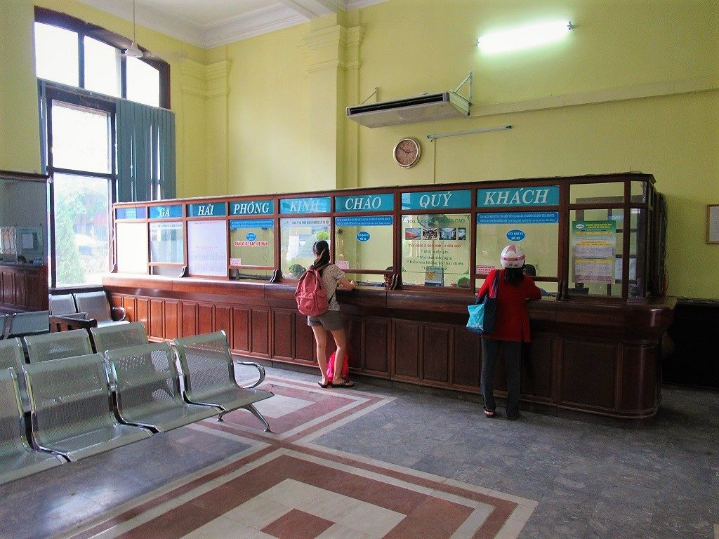 Ticket office at Hai Phong train station, Vietnam