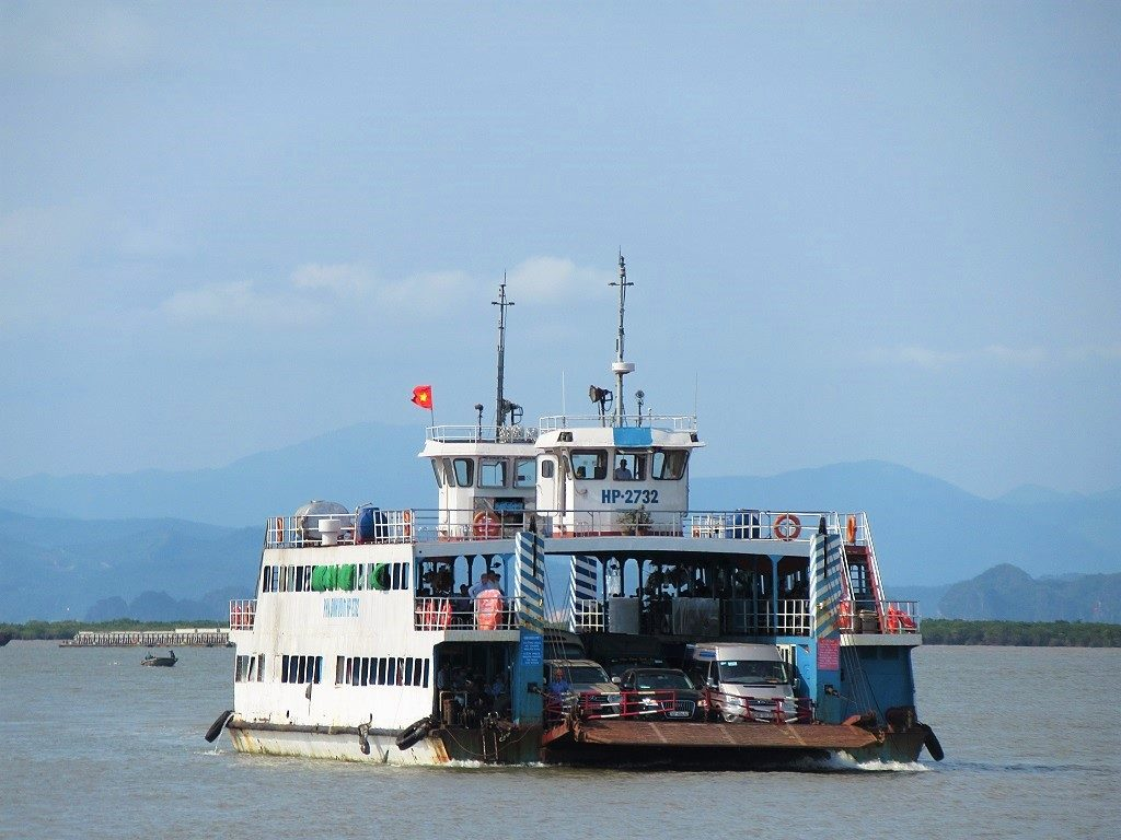 The car ferry to Cat Ba Island, Vietnam