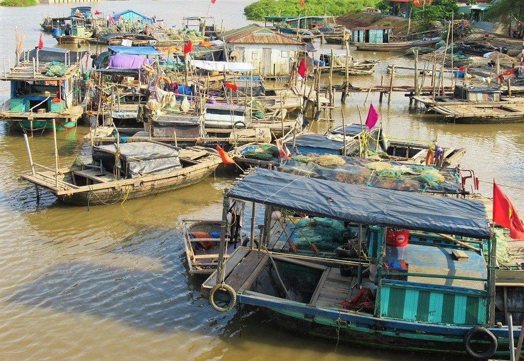 Boats in Viet Hai Hamlet, Cat Ba Island, Vietnam