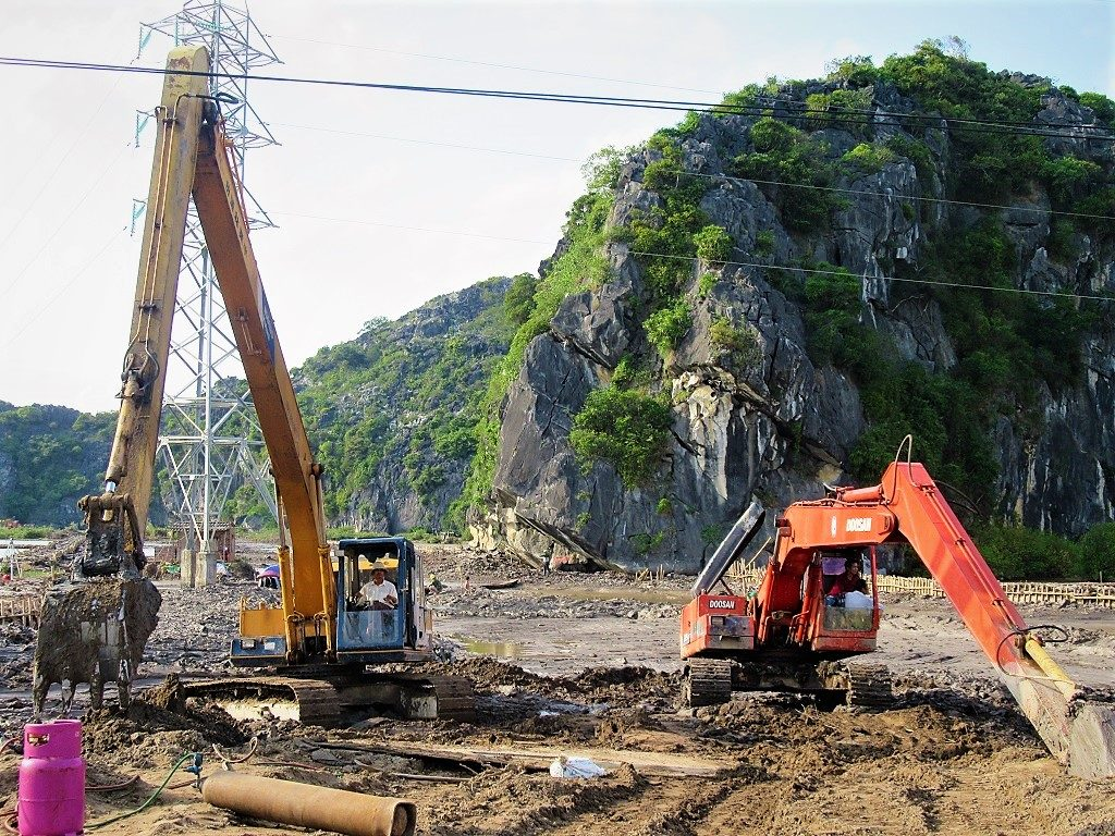 Construction work on Cat Ba Island, Vietnam