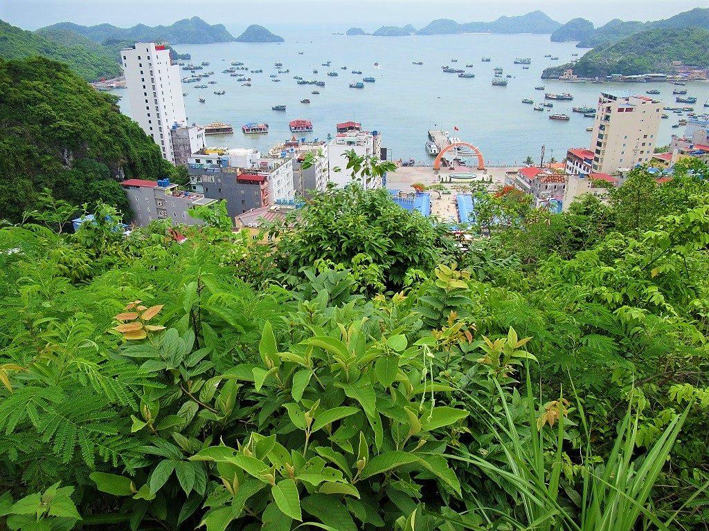 View of Cat Ba Town from the War Memorial, Cat Ba Island, Vietnam