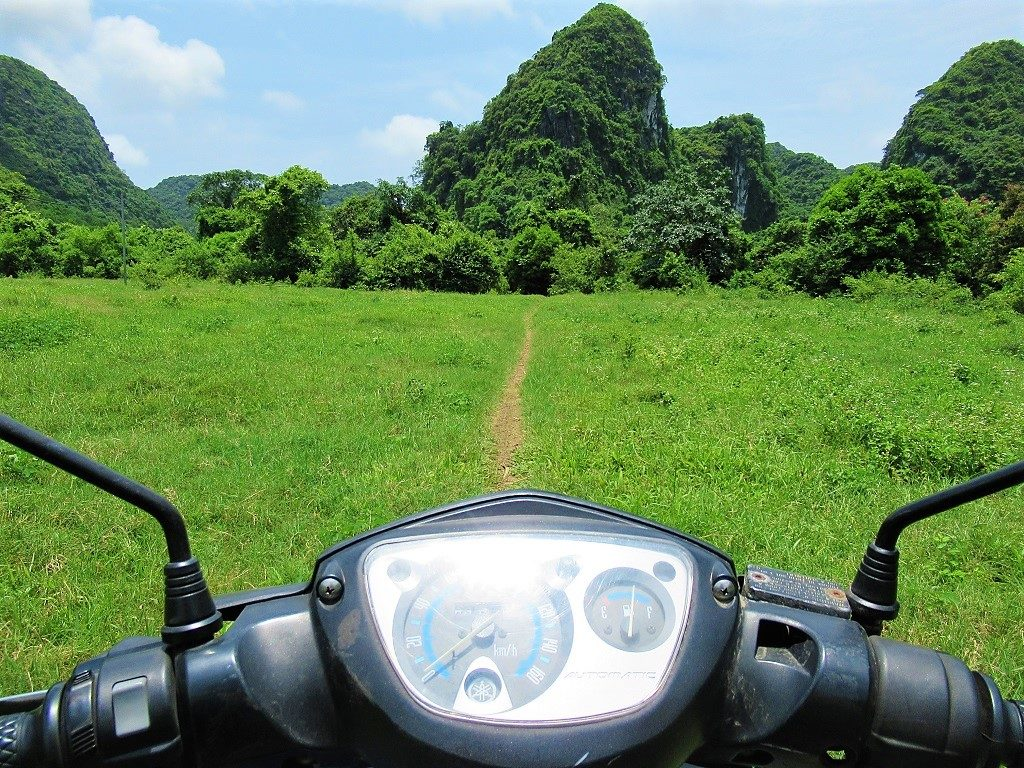 Riding a motorbike around Cat Ba Island, Vietnam