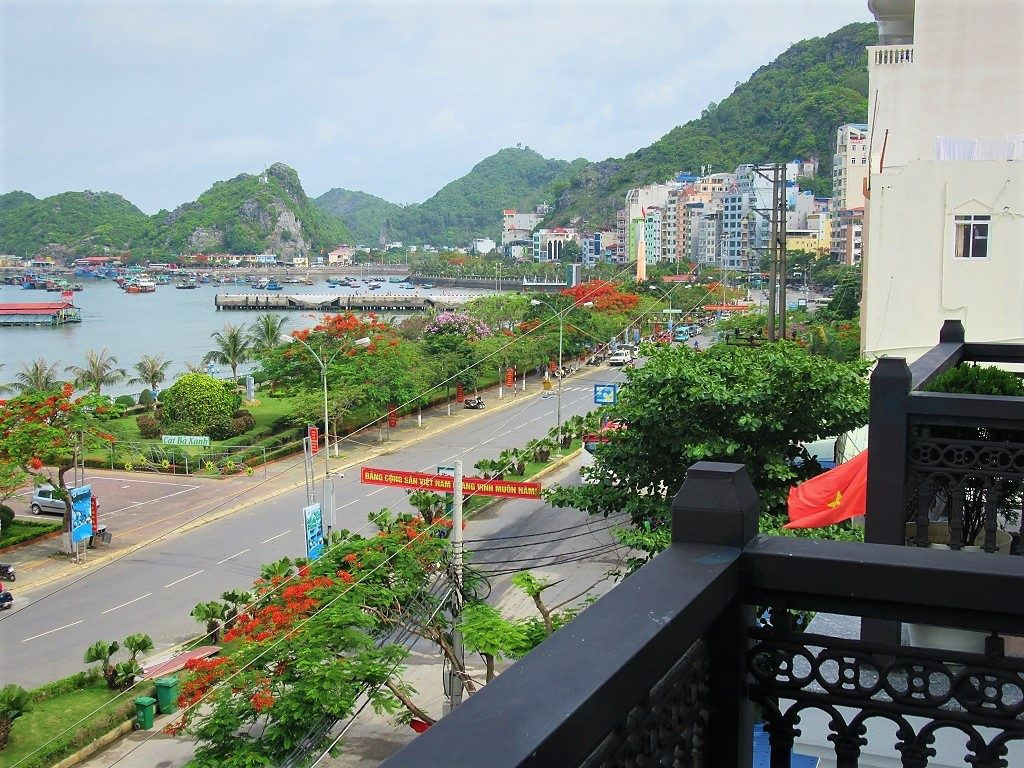 View from the balcony of a hotel in Cat Ba Town, Vietnam