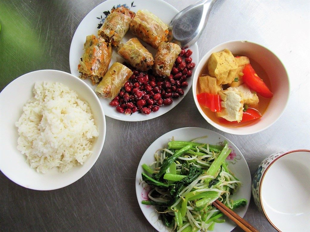 A typical rice lunch, Cat Ba Island, Vietnam