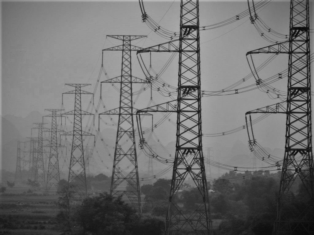 Electricity pylons in the industrial outskirts of Hanoi, Vietnam