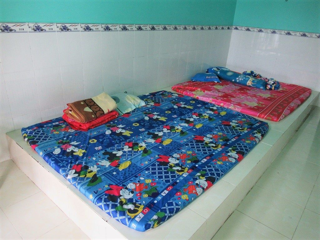 Mattresses on the floor in guest rooms at Minh Nga, Pirate Island, Hai Tac Archipelago, Vietnam