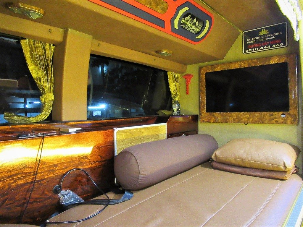 Sleeping compartment of a Thien Thanh Limousine (VIP) bus, Vietnam