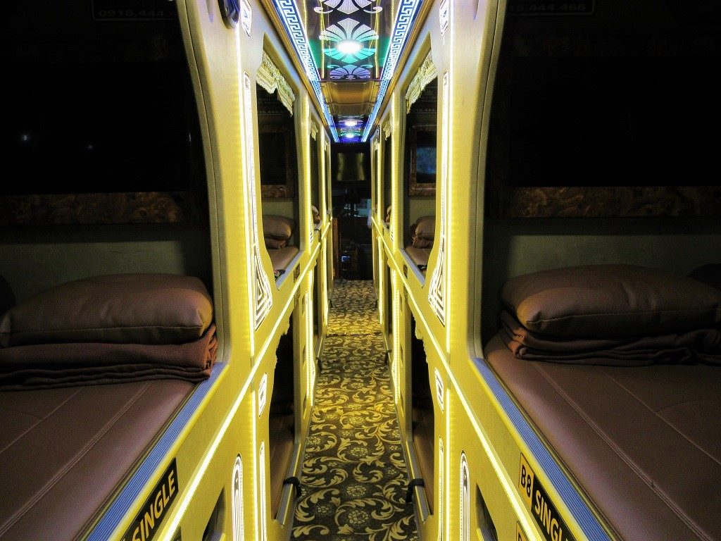 Sleeping compartments of a Thien Thanh Limousine (VIP) bus, Vietnam