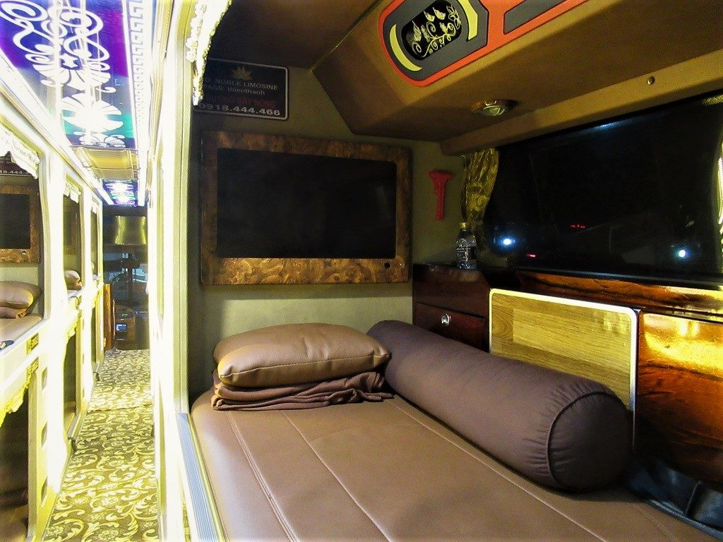 Sleeping compartment on a Thien Thanh Limousine (VIP) bus, Vietnam