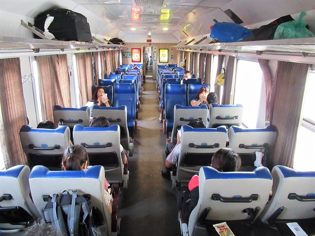 Interior of soft-seat carriage, Hanoi-Lang Son-Dong Dang train
