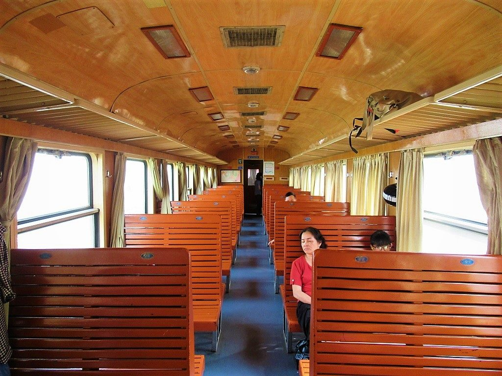 Interior of hard-seat carriage, Hanoi-Lang Son-Dong Dang train